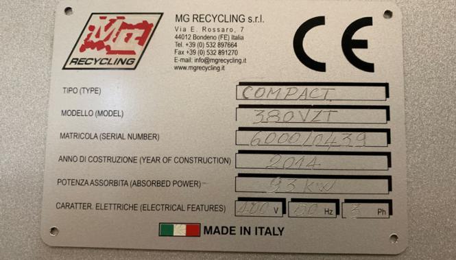 Gebrauchte Kabel Granulieranlage MG380VZT